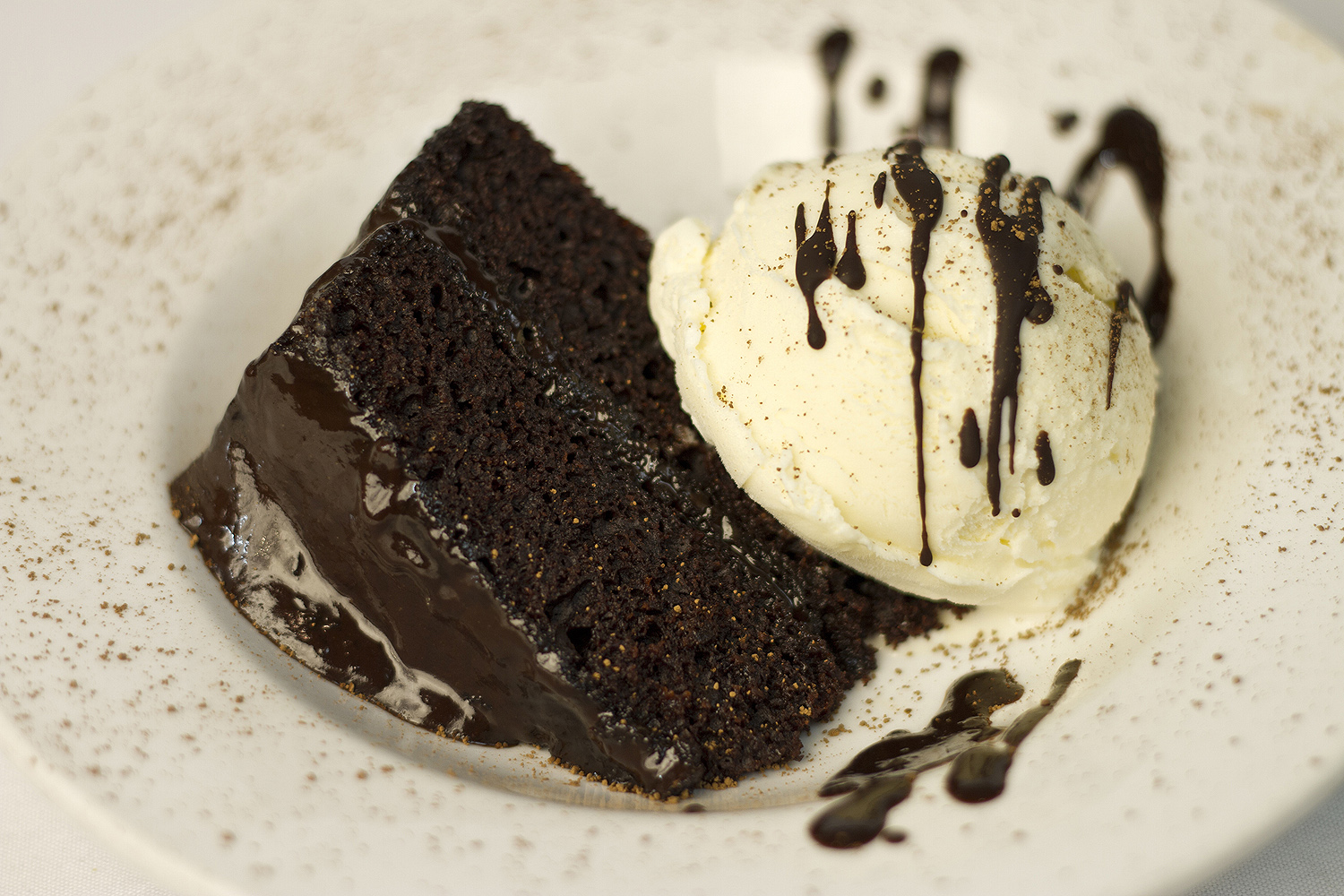 chocolate cake and ice cream restaurant photo 1000x